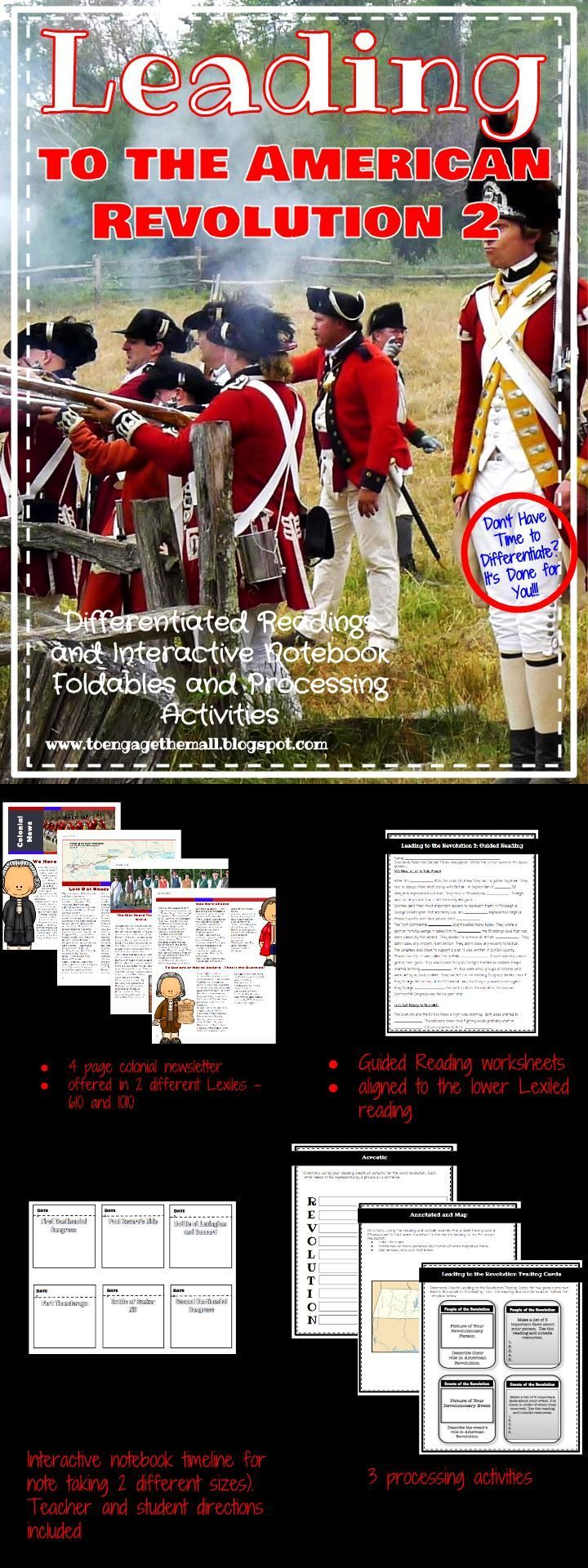 Leading to the American Revolution: Leveled Readings, Interactive Notebook Activities, and Processing Activities