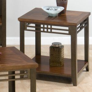 jofran barrington cherry end table with shelf inlay wood top u0026 metal apron and legs jofran