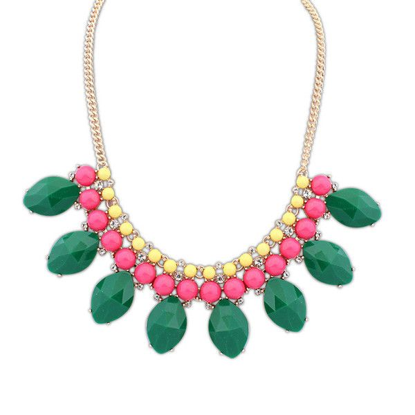 Sadie Multicolour Gem Necklace £12.00  Green is said to be calming and seductive, everything that this enticing necklace is. The necklace has three rows of colour; yellow, slightly bigger pink gems and finally, oval green stones that steal the limelight and captivate their audience. The necklace can be worn with formal and informal outfits.