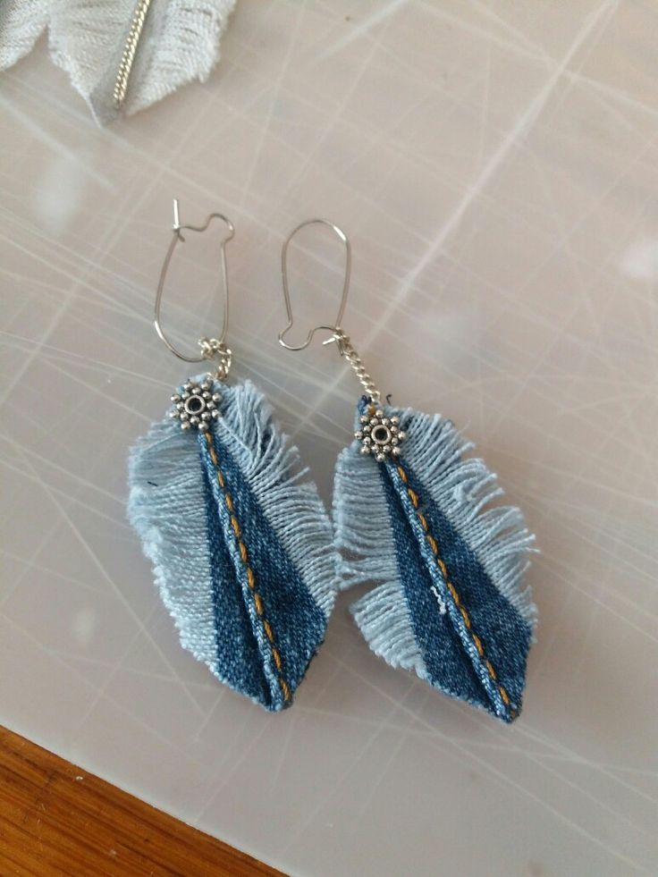 Denim earrings (I have all these parts on hand)