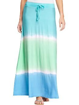Women's Drawstring Jersey-Maxi Skirts