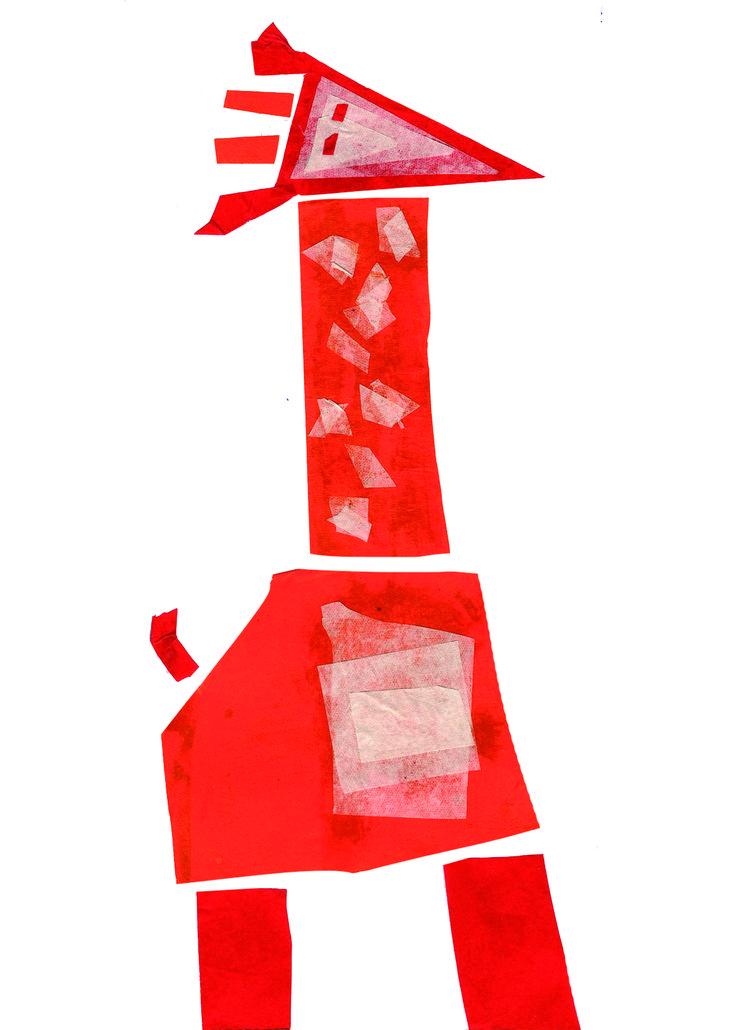"""Fusión de animales 03 """"Jirafa dibujada por alguien que nunca ha visto una jirafa pero tiene una vaga idea de como son"""" en papel volantín."""