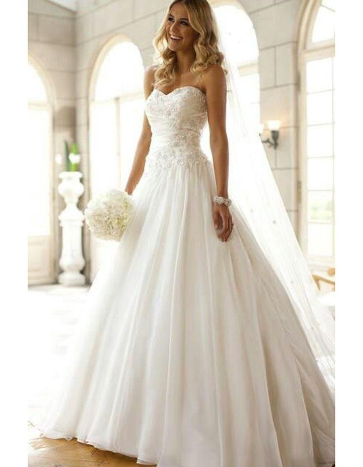 Robe de mariée princesse avec traîne et voile