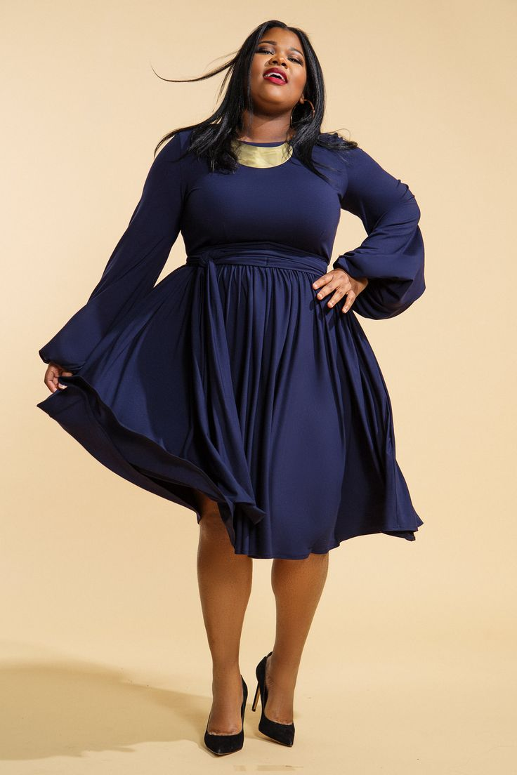 Oh my gosh, how gorgeous is this? Plus Size JIBRI Gathered Trumpet Sleeved Flare Dress