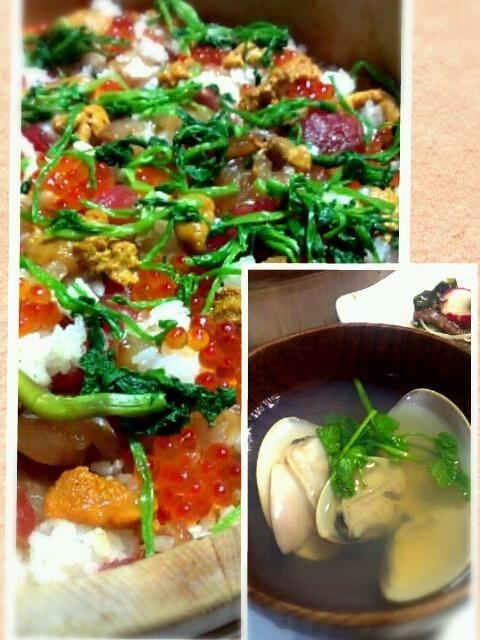 実家でつくってもらいました! - 4件のもぐもぐ - ちらし寿司、はまぐりの潮汁 by takaryoryo