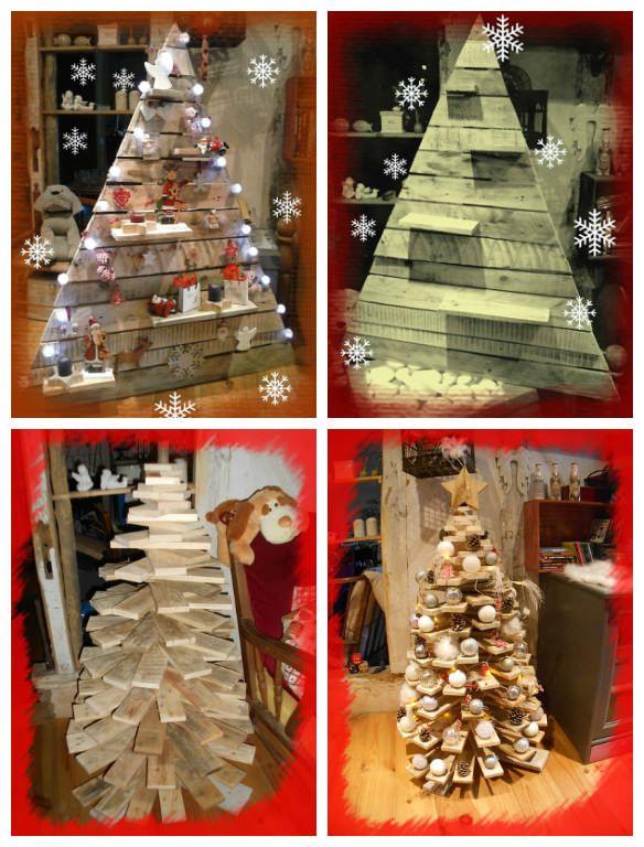 Sapin réalisé en bois de palettes, cela fait deux années que nous fabriquons notre propre sapin en bois de palettes, il s'agit donc de deux sapins différents.       #ChristmasTree, #PalletDecoration, #RecycledPallet, #Tree