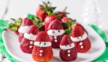 These adorable Santa strawberries are the perfect bite for fruit lovers.