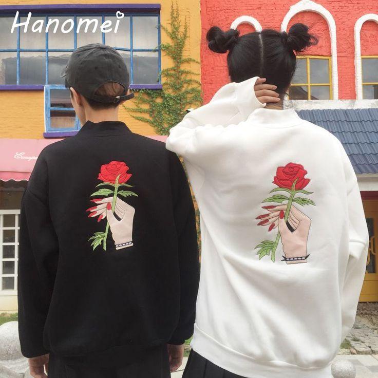 New Embroidery Rose Floral Women's Hoodies Turtleneck Sudaderas Mujer 2016 Long Sleeve Felpe Donna Unisex Sweatshirts C16