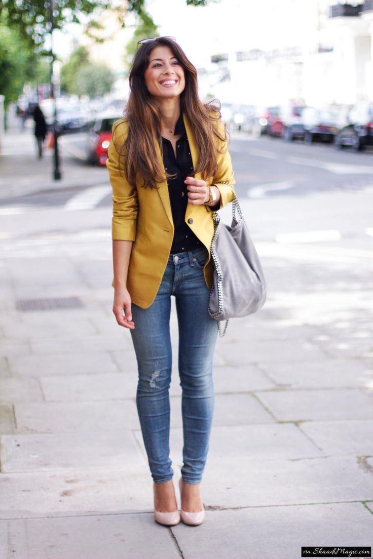 Mix & Match OOTD One  Yellow Overcoat Blue Denim Jeans Belly-heels Black Formal Shirt Handbag- Any Colour