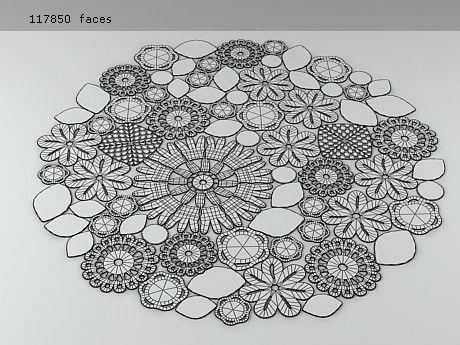 Inspiration :: Mixed motif rug line drawing (no pattern) #crochet