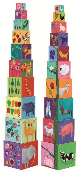 Djeco Stapelturm Tiere und Natur, stapeln & spielen für Kinder ab 12 Mon - Bonuspunkte sammeln, Kauf auf Rechnung, DHL Blitzlieferung!