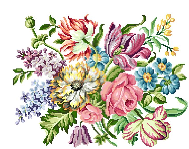 Victorian blooms  Victorian Cross stitch pattern . Instant