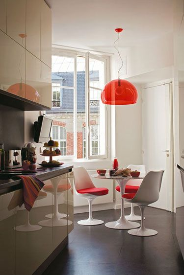 Planned to buy this Kartell lamp in orange for our house for above the table. But now the table is under the roof window, it's not possible anymore.