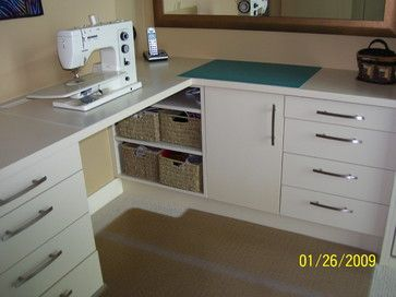 """""""sewing Room"""" Design Ideas, Pictures, Remodel, and Decor - good use of corner"""