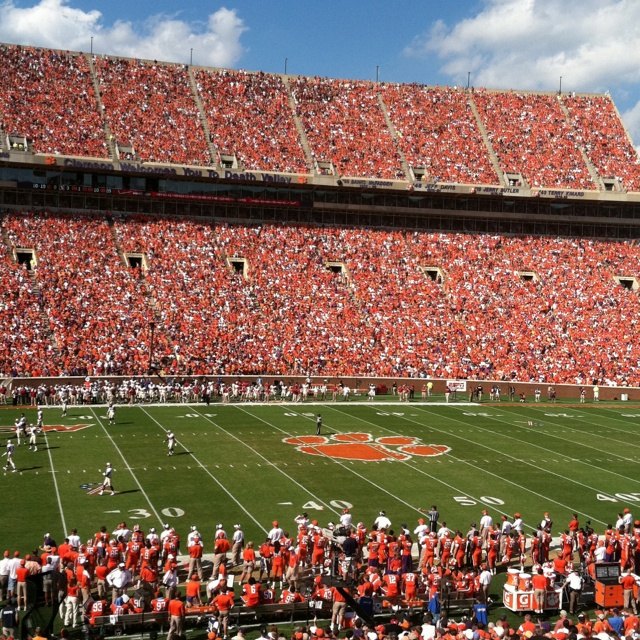Clemson Football.  The last and only time I ever went to a college football game was at Clemson when I was 16.   I didn't even know what a quarterback was! Ha!