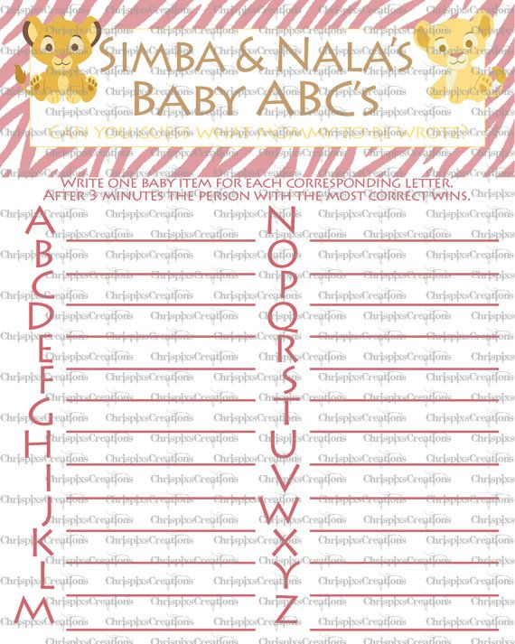 Instant Download Girl Abc Lion King Baby Shower Game We Know How