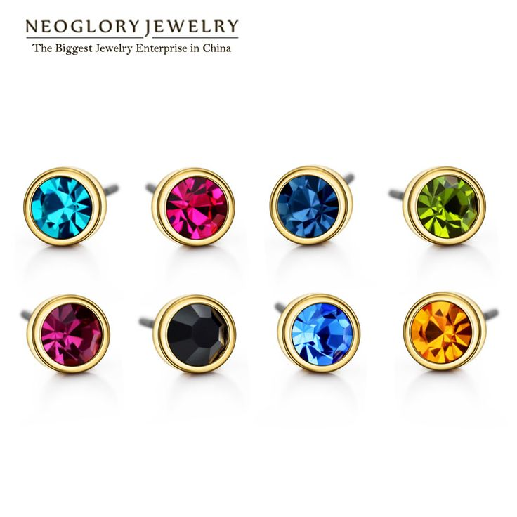 Neoglory Austrian Rhinestone Charm Gold Plated Colorful Stud Earrings Set For Women Brand Fashion India Jewelry 2017 New Colf-in Stud Earrings from Jewelry & Accessories on Aliexpress.com | Alibaba Group