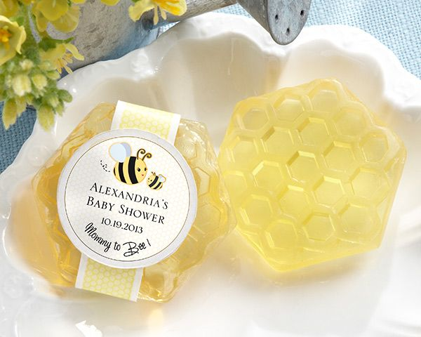 Kate Aspen has the perfect favors for your bee theme baby shower. Guests will love these scented honeycomb soaps with a Mommy to Bee sticker. .