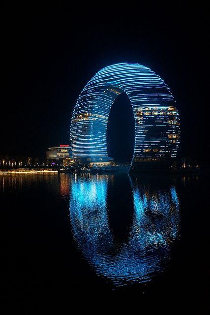 Night look of Sheraton Huzhou - Huzhou, China, Design by Yansong Ma - by Laurence Chueng (Mr. moon) via Flickr