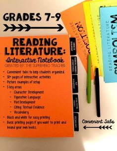 Reading Literature Interactive Notebook for grades 6-9! Character development, figurative language, plot development, citing textual evidence, vocabulary