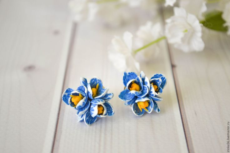 Купить Крокусы. - голубой, синий и желтый, белый, желтый, цветы из полимерной глины, синий