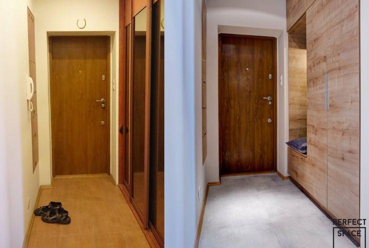Metamorfoza przedpokoju, który zachował swój pierwotny układ. Zmiana światła, podłogi oraz obudowy szafy nadały tej przestrzeni charakteru i optycznie go powiększając.