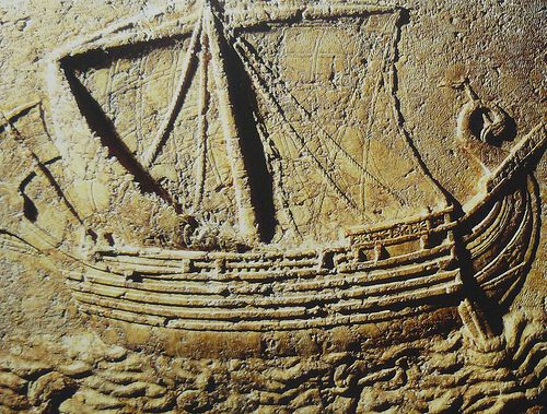 Fenicia. Phoenician ship Carved on the face of a sarcophagus. 2nd century AD.