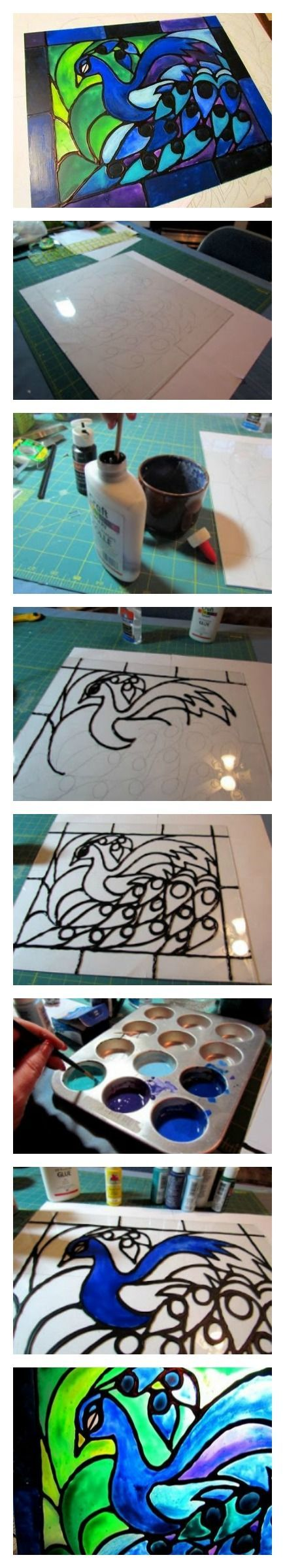 Faux stained glass created from acrylic paint and glue. To make the project even more challenging, have your students draw their own patterns.