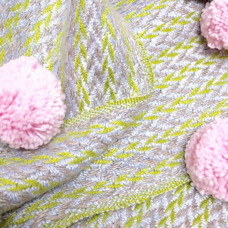 Stitching organic cotton pompom's onto this super soft extra large hemp & bamboo scarf today. Online by Thursday. #pompom  #organiccotton #herringbone  #pattern #bamboo #hemp #sustainabletextiles #sustainabledesign #eco #ecofriendly #ecotextiles #organic #weaver #woven #woventextiles #textile #textiledesign #textiledesigner #madeinhampshire #madewithlove