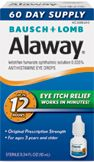 Alaway 12-hour allergy eye itch relief package, blue and white box