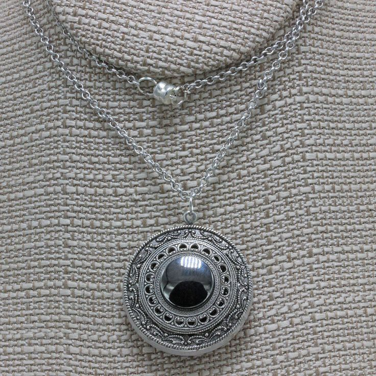 Handmade Jewelry Necklace 22 Inch Chain Two Sided 36mm Czech Glass Button and Silver Brass Filigree With Heamatite Center Oscarcrow by oscarcrow on Etsy