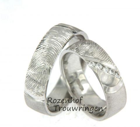 Karaktirestieke vingerafdruk trouwringen van witgoud