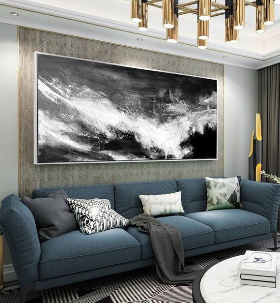 Large Abstract Painting Horizontal Wall Artblack White Etsy Large Abstract Painting Abstract Painting Horizontal Wall Art