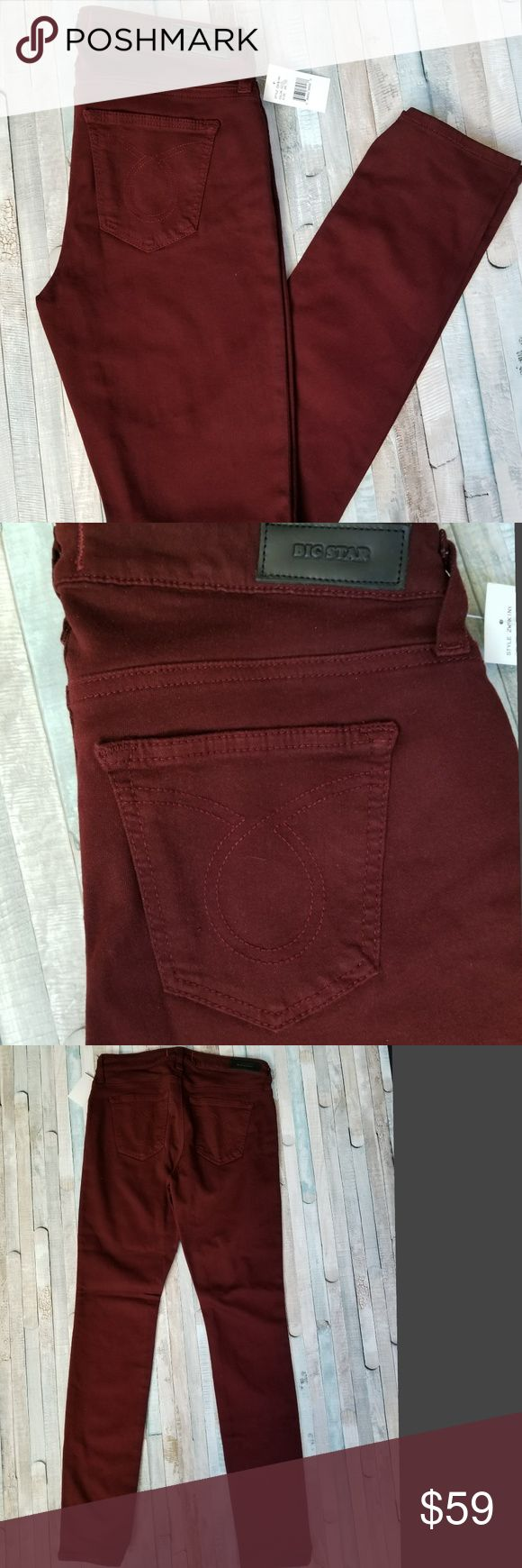 "Big Star Maddie Skinny Jeans NWT Beautiful Big Star Maddie skinny jeans in the color ""new beet"" with embroidered back pockets  Size on Tag: 28R Color: Beet Red Style: Skinny jean Condition: New with Tags Non-smoking pet friendly home  Approximate measurements: Waist flat: 14.5"" Rise: 8.5"" Inseam: 32"" Ankle width flat: 5.5""  J113 Big Star Jeans Skinny"
