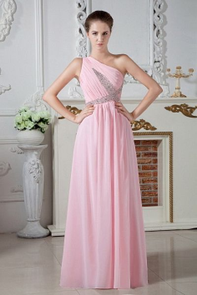 One-shoulder Elegant Pink Celebrity Gown - Order Link: http://www.theweddingdresses.com/one-shoulder-elegant-pink-celebrity-gown-twdn1965.html - Embellishments: Beading , Ruched , Sequin; Length: Floor Length; Fabric: Chiffon; Waist: Natural - Price: 137.54USD
