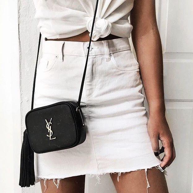 White denim skirt, all white   YSL cross body bag   spring fashion   streetstyle