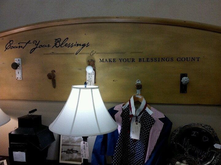 Repurposed headboard and door handles..would make a great decorative/useful piece!
