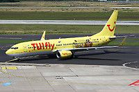 TUIfly (DE) Boeing 737-8K5 (WL) D-AHFT aircraft, with the sticker ''Albrecht Durer Airport Nurnberg'' Feb. 2015, skating at Germany Dusseldorf International Airport. 02/07/2016.
