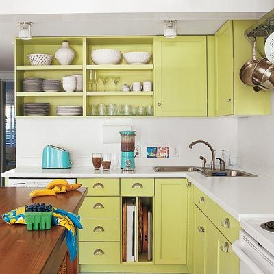 Revive tired wood cabinets by painting them a bright hue. For a fresh and flawless finish like this one, brush on a 100 percent acrylic latex primer. Then coat with Advance Waterborne Interior Alkyd Semi-Gloss in Sweet Pea, about $48 per gallon; Benjamin Moore