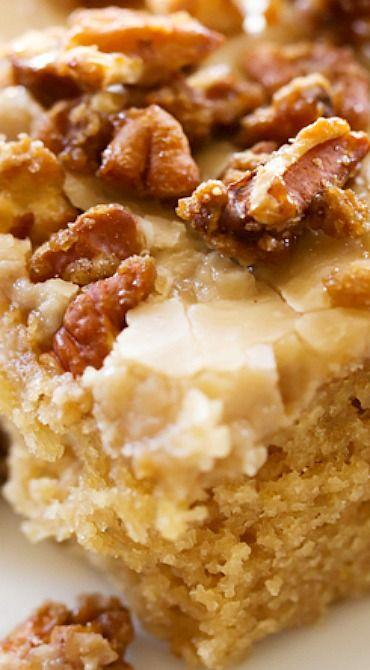 Caramel Praline Sheet Cake