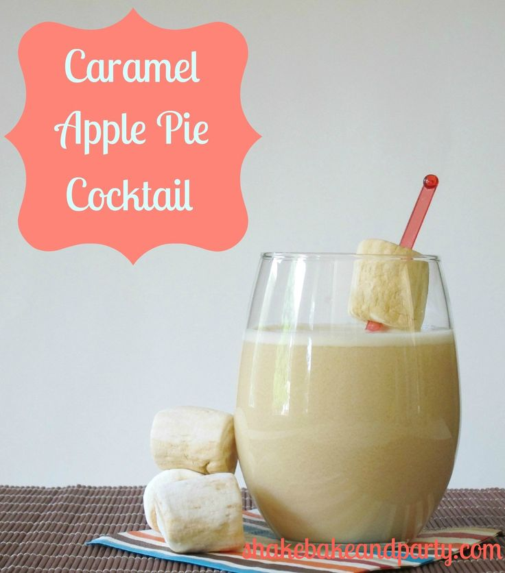 Caramel apple pie cocktail. Made with caramel vodka, apple cider, and rum chata