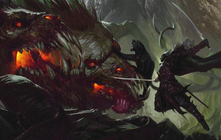 Drizzt Do'Urden battles Demogorgon in art from the new D&D storyline Rage of Demons