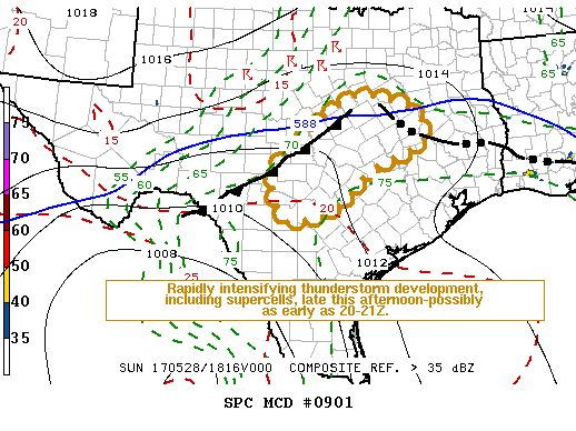 145PM: The Storm Prediction Center has indicated a severe weather watch will likely be issued by 4 PM for parts of Central Texas and the Brazos Valley.