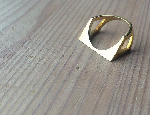 3D printed modern brass ring by MBDdesign on Etsy