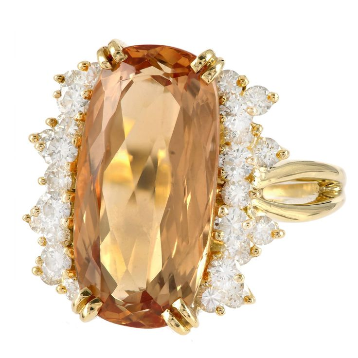 Natural Orange Precious Topaz Diamond Gold Ring Joya