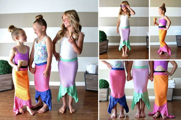 This soft mermaid swim cover will have your kiddos all set for summer! Fantastic stretch-terry fabric and fun colors will have your little one walking to the pool in style. Features detailed stitching along fin with contrasting waist color, and comfy elastic waistband. Throw on before or after the pool for a fun towel and swim cover-up.