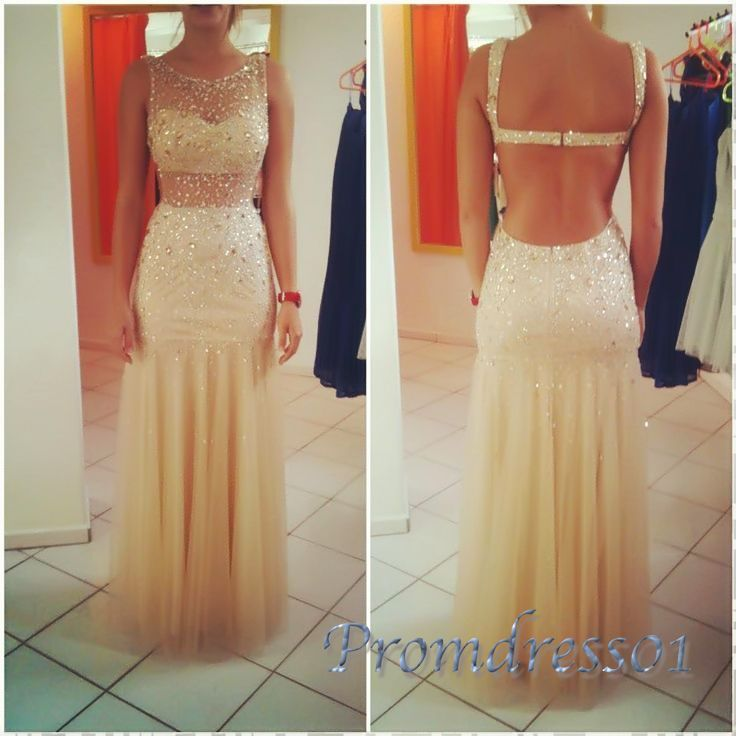 Long prom dress, backless ball gown, cute light-gold tulle see-through evening dress for 2016 #coniefox #2016prom