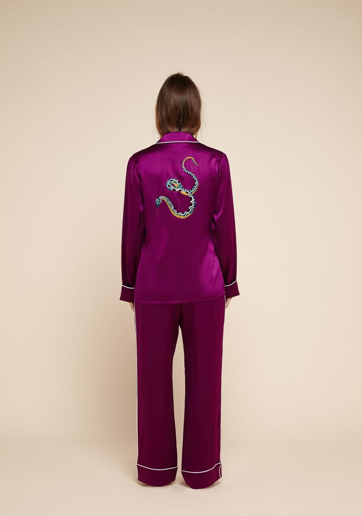 The Coco Shada embroidered pyjama sees Olivia von Halle's classic 'Coco' style re-imagined with an exquisitely hand-embroidered serpent motif on its back