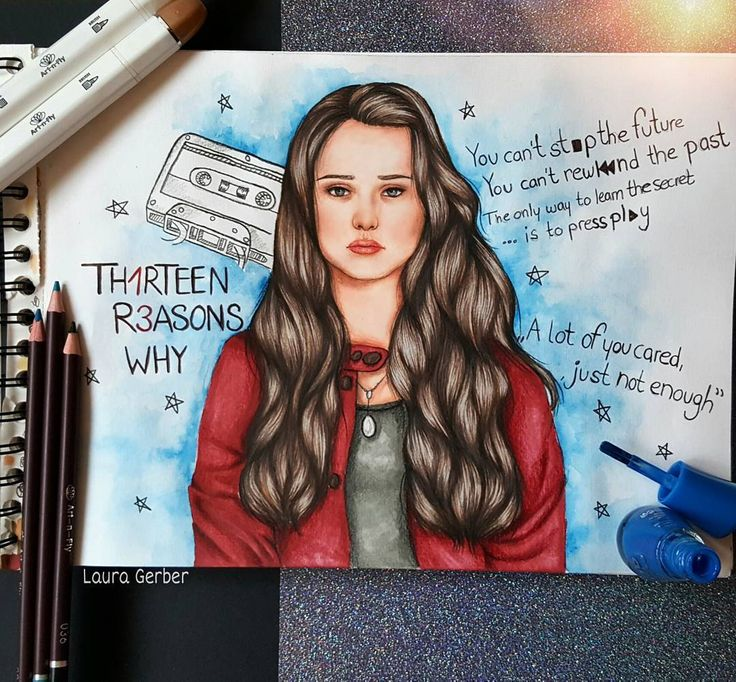 "358 Likes, 20 Comments - Laura Mary Gerber  (@lets_dream_to_draw) on Instagram: ""~13 reasons why~ Who watched the series? I really really loved that series and I think that it…"""