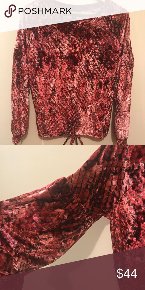 Women's crushed velvet long sleeve top Brand new without tag - online packaging  Super cute color  Feels incredibly soft  Second picture shows the gathering of the drop Sleeve.   Size Small - can fit size M too if you want it to be more fitted.   Bundle to save Tops Blouses